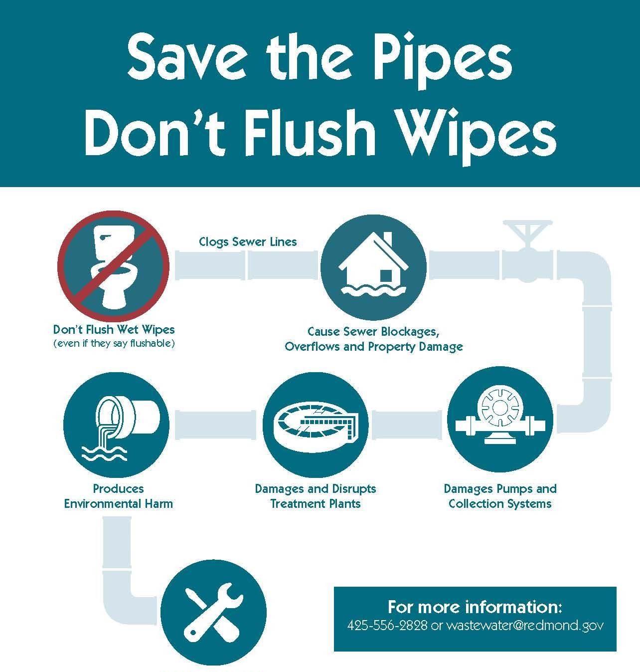 Save the Pipes, Don't Flush Wipes