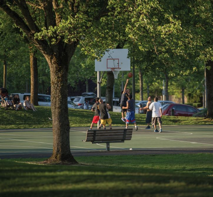 Basketball game at Grass Lawn Park